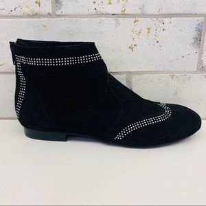 Vaneli Black Suede Studded Ankle Booties Size 7